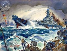 """Pacific Task Force, USS Iowa"", by Arthur Beaumont (1959)"