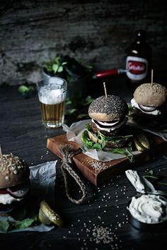dark beef burgers