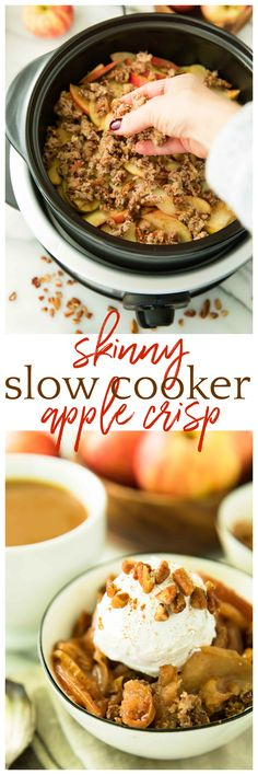 With a super crisp, nutty topping blanketing a warm and cozy, apple cinnamon-spiced filling, this Skinny Slow Cooker Apple Crisp is absolutely irresistible! Vegan, Paleo, Gluten-Free, Dairy-Free. AD