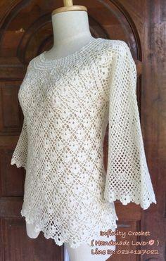 Tunic / S. Pullover pattern by michiyo Crochet Lace Edging, Crochet Cardigan, Irish Crochet, Knit Crochet, Crochet Patterns, Moda Crochet, Lace Making, Crochet Fashion, Lace Tops