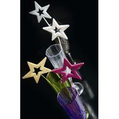 Etoiles Pailletées Festives Deco sur Tige 25.5 cm les 4