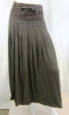 Ivan Grundahl Women's Linen and Rayon Long Flowy Belted Skirt Brown 12