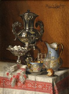 pintoras:  Henriette Lamberger (Czech, 1859 - after 1900): Still life with silver samovar (1882) (via Düsseldorfer Auktionshaus)