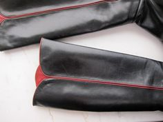 70s Russian Princess Boots Black & Burgundy by JoulesVintage