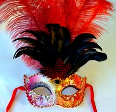 Red Feather Venetian Masquerade Mask - Yeah its from Venice!