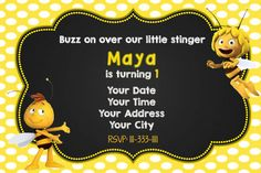 Check out this item in my Etsy shop https://www.etsy.com/listing/470290250/maya-the-bee-birthday-invitation
