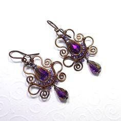 Purple Teardrop rame orecchini Soutache in di AnnaWireJewelry