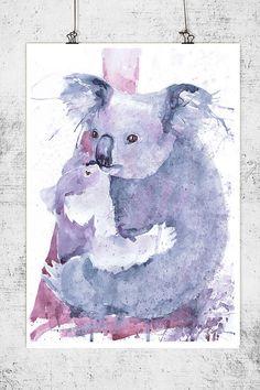 Koala bear gifts, australian animals painting watercolor, koala art, mother and baby print, koala nursery decor, aussie animals, mother gift Koala bear