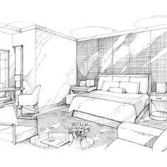 Pen & Ink rendering of luxury hotel guest room Www.MichaelFlynnStudios.com. Design credit: HBA. #handsketch #handrenderings #interiordesign #interiors #drawing