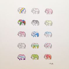 코끼리 :) #타투이스트리버  #코끼리 #수채화 #패턴 #그림 #스케치 #타투 #elephant #watercolor #painting #pattern #tattoo #graffittoo