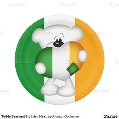Teddy Bear and Big Irish Heart 7 Inch Paper Plate