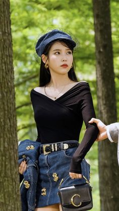 From Audrey Hepburn looks, to Chanel leather coats, to Denim ensembles, you will surely love IU's killer styles in spite of her devilish attitude in Hotel del Luna. Shop the entire look here Luna Fashion, Kpop Fashion, Denim Fashion, Korean Fashion, Fashion Outfits, Kpop Outfits, Korean Outfits, Cute Outfits, Looks Chic