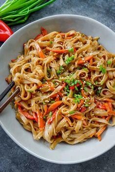 Vegan Noodles Recipes, Asian Noodle Recipes, Fish Recipes, Vegetable Recipes, Asian Recipes, Healthy Recipes, Ethnic Recipes, Vegan Dinners, Healthy Meals