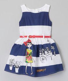 Loving this Blue & White Stripe Belt Dress - Infant, Toddler & Girls on #zulily! #zulilyfinds