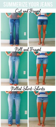20 Stylish and Simple DIY Clothes To Revamp Your Wardrobe - Jean Shorts - Ideas of Jean Shorts - From Jeans to Cut Offs An easy DIY for those old worn out jeans. Diy Fashion, Fashion Tips, Fashion Trends, Fashion Ideas, Jeans Fashion, Work Fashion, Unique Fashion, Summer Outfits, Cute Outfits