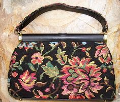 SOLD  Vintage 1960's Floral Needlepoint Handbag by JR by EcoBeachDesigns