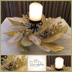 Centro de mesa natalino com vela de cera e luzes em led!!! Para sua ceia ficar mais natalina!!! #nat - finoafetopresentes