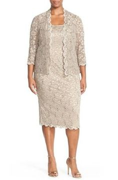 Glimmering sequins scatter across the rich embroidered lace rendering an elegant sleeveless sheath and sheer open jacket. Color(s): champagne. Brand: ALEX EVENINGS. Style Name: Alex Evenings Lace Dress & Jacket (Plus Size). Style Number: 908371 4. $113.40 by nordstrom