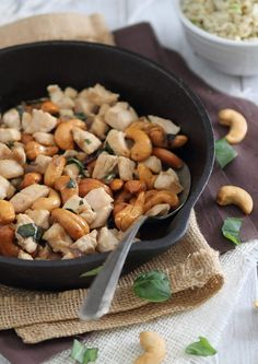 This cashew chicken skillet is an easy, one-pan meal with lots of fresh basil flavor and a quick savory sweet sauce that's perfect over some rice.
