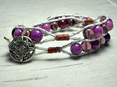 Lavender Morning Double Wrap Bracelet by BeadWorkBySmileyKit, $20.00 #purple