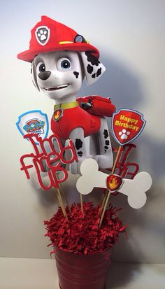 Paw Patrol MARSHALL party Centerpiece by myhusbandwearscamo, $16.00