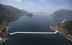 The 'Floating Piers' by artist Christo, is being set up over picturesque Lake Iseo in northern Italy and will allow visitors to appear like they are walking on water to an island in the middle of the lake. Christo Floating Piers, Italian Lakes, Walk On Water, Water Art, Northern Italy, Aerial View, Installation Art, Paths, Walking