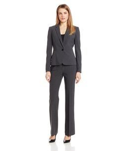 Anne Klein Women's Petite 1 Button Notch Suit Jacket with Waist Detail, Grey Heather, 4