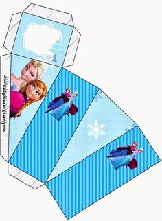 Frozen en Navidad Azul: Cajas para Imprimir Gratis.
