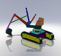 Wooden Excavator - Kid Toy - SOLIDWORKS,STL - 3D CAD model - GrabCAD