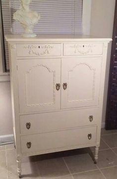 Beautiful armoire painted with Creamy Linen Farmhouse Paint.  www.farmhousepaint.com
