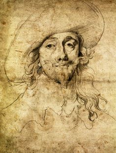 nthony van Dyck, Porträt Karl I. von England (Sir Anthony van Dyck, Portrait of Charles I. of England) Antonis van Dyck (Antwerpen 1599 - London Karl I. Portrait of Charles I of England. Portrait Sketches, Portrait Art, Drawing Sketches, Art Drawings, Self Portraits, Figure Sketching, Figure Drawing, Painting & Drawing, Anthony Van Dyck