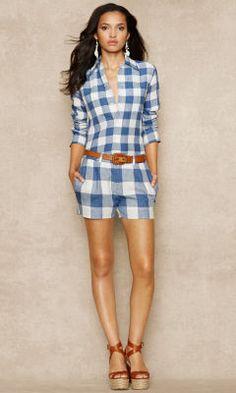Gingham Linen Short - Blue Label Shorts & Skorts - Ralph Lauren UK