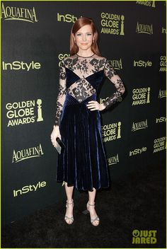 Darby Stanchfield keeps her look sleek while attending The Hollywood Foreign Press Association and InStyle Celebrate the 2015 Golden Globe Award Season at Fig &…