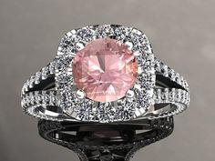 Morganite & Diamond Halo Engagement Ring 7mm Round Morganite