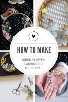 How to make embroidery hoop art with dried flowers. Olga Prinku shares her simple step by step DIY tutorial to create your own mini hoop with hydrangea, eucalyptus, mimosa and spring flowers. Click through for other stunning ideas you'll love to try too Embroidery Hoop Crafts, Embroidery Hearts, Diy Embroidery On Tulle, Embroidery Ideas, Embroidery Jewelry, Flower Embroidery, Embroidery Stitches, Flower Crafts, Flower Art