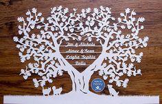 Large Family Oak tree papercut by MadebyNicky on Etsy
