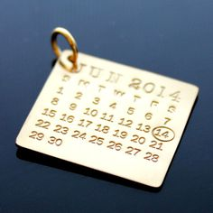 14K Gold Mark Your Calendar Charm - Personalized Calendar Charm - hand stamped…