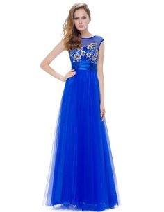 Shop cheap price a-line scoop neck floor-length tulle dress with embroidery. Low budget casual or formal dresses free shipping.
