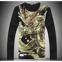 Flying dragon pattern print men's #black cotton #TShirt