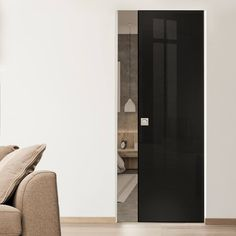 Eclisse 10mm Gloss Black Colour Glass Syntesis Pocket Door - 9005.    #blackglassdoor  #internalglassdoor  #pocketglassdoor