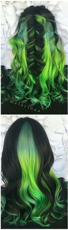 cool Green black dyed hair color inspiration… by www.danaz-hairsty… cool Green black dyed hair color inspiration… by www. Green Hair Dye, Ombre Green, Pelo Multicolor, Hair Dye Colors, Neon Hair Color, Unicorn Hair Color, Coloured Hair, Coloured Braids, Scene Hair