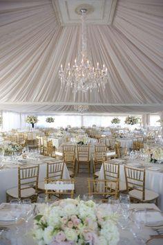 Decoración romántica para salón de boda