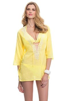 f21c522d9c736 Profile Blush by Gottex Women's Florence Tunic Swim Cover Up Yellow M at Amazon  Women's Clothing store: