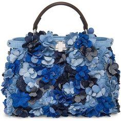 Fendi Mini Peekaboo Floral-Embellished Denim Satchel (85.345 ARS) ❤ liked on Polyvore featuring bags, handbags, blue, purses, mini satchel purse, satchel purses, mini satchel handbags, mini purse and hand bags