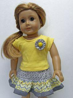 American Girl/18 inch Doll Clothes - yellow & gray chevron ruffle skirt with yellow tee shirt