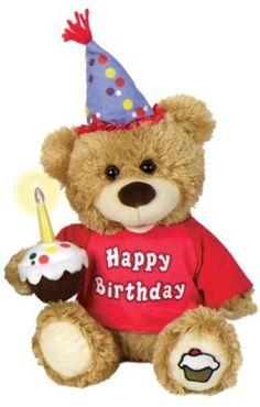 "Chantilly Lane CupCake Birthday Bear Sings ""Happy Birthday"" 10"" Plush"