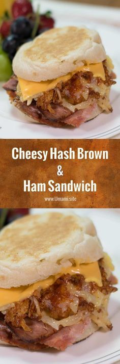 Cheesy hash brown sandwiches are a delicious breakfast sandwich.  All you need is some cheesy hash browns, an English muffin, some ham, and if you like to gild the lily a slice of cheese.