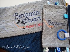 Custom designed personalized Minkee baby blankets at www.sun7designs.com