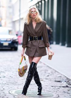 a0d9a2edf6ec2 Elsa Hosk paraded her VERY petite figure in cinched waist blazer as she  stepped out in thigh-high PVC boots, in New York City on Saturday