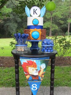 Dessert table for a Lego Chima Party. Love the colors & theme!